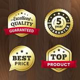 Set business gold premium label on wood  background. Set business gold label on wood  background.  from background. top product / excelent quality / best price Stock Photo