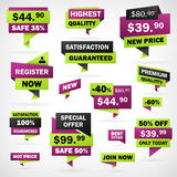 Set Business Green And Violet Price Labels Royalty Free Stock Photography