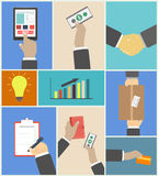 Set of business hands action concepts Royalty Free Stock Images