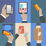 Set of business hands action concepts Stock Image