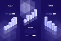 Set of 3 business headers with various chart and graph. Data visualization concept for analysis, report, presentation. Infographics. Vector illustration in 3d Stock Photo