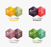Set of business hexagon layouts with text and options Royalty Free Stock Image