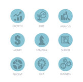 Set of Business Icon Design Flat Round Stock Photos