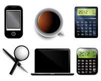Set of Business icons. Including pen mobile laptop magnifier calculator and cup of tea Stock Images