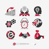 Set of business icons. Containing: international marketing symbols, financial ideas, mobile and web elements for website templates, company presentation, flat Stock Photography