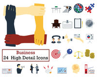 Set of 24 Business Icons. Flat color design. Vector illustration Stock Photo