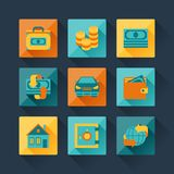 Set of business icons in flat design style.  Stock Images