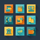 Set of business icons in flat design style.  Royalty Free Stock Photo