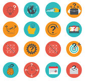Set of business icons flat, marketing, e-commerce, finance Royalty Free Stock Photography