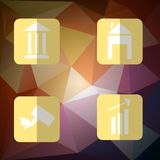 Set business icons flat style with shadow on the. Polygon background for your design Stock Photos