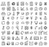 Set of business icons, Hand drawn vector illustration. Stock Photos