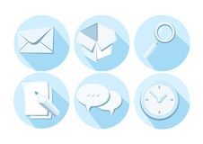 Set of business icons letter box magnifying glass Royalty Free Stock Image