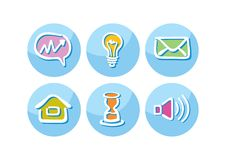 Set of business icons lightbulb megaphone paper Stock Image