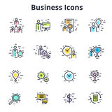 Set of business icons in line flat vector design. Corporate symb Stock Photo