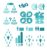Set business icons, management and human resources Stock Photos