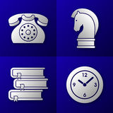 Set of business icons - old telephone, strategy horse, pile of 3 books and time clock Stock Photos