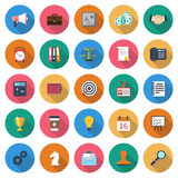 Set business icons. Shout, briefcase, safe, money, handshake, contract, phone, calculator, wallet, target, id card, notebook, cup, coffee time, idea, calendar Stock Images