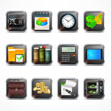 Set of business icons in square. Set of square icons for business info graphic,  illustration Royalty Free Stock Images