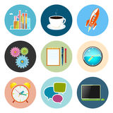 Set of Business Icons, Team Work. Set of Business Icons, Office Work, Team Work, Long Hours in the Office, Presentation and Discussion, Vector Illustration Stock Photography