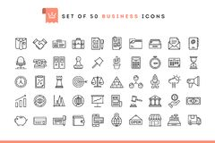 Set of 50 business icons, thin line style. Vector illustration royalty free illustration