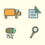 Set of business icons: truck, magnifying glass, paper, and percent. Vector illustration. Royalty Free Stock Images