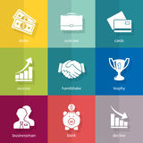 Set of business icons. Vector. Buttons Royalty Free Stock Image