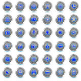 Set of business icons 36 vector buttons. Last minute blue neon. Stock Photography
