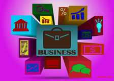 Set of business icons. Volume set of business icons on the extended high-squares of different lengths Royalty Free Stock Image