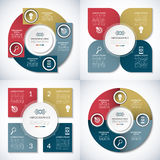 Set of business infographic circle templates. 4 step vector  banners. Set of business infographic circle templates. Can be used for presentation, workflow layout Stock Images