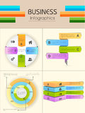 Set of Business Infographic elements. Set of four colorful Infographic elements for business reports and data presentation Stock Images