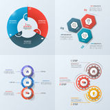 Set of 4 business infographic template with 3 steps. Processes, parts, options. Vector illustration Royalty Free Stock Photography