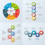 Set of 4 business infographic template with 5 steps. Processes, parts, options. Vector illustration Stock Photo