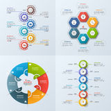 Set of 4 business infographic template with 6 steps, processes,. Parts, options. Vector illustration Stock Images