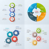 Set of 4 business infographic template with 4 steps, processes,. Parts, options. Vector illustration Royalty Free Stock Images