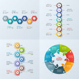 Set of 4 business infographic template with 7 steps, processes,. Parts, options. Vector illustration Stock Image