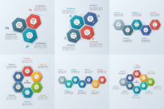 Set of business infographic templates with 3-8 steps Stock Image