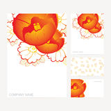 Set of business and invitation card templates with floral orname Royalty Free Stock Photography