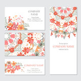 Set of business or invitation cards templates, corporate identit. Y templates. Floral pattern Royalty Free Stock Image