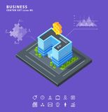 Set business isometric building icons diagrams Royalty Free Stock Photography