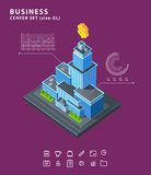 Set business isometric building icons diagrams Stock Photo
