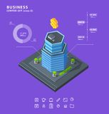 Set business isometric building icons diagrams Stock Image