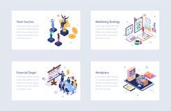 Set of Business Isometric Illustrations stock image