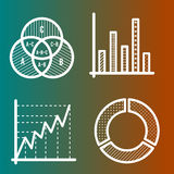 Set of business line icons. Circle diagram, venn diagram, bar chart Royalty Free Stock Photo