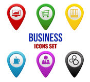 Set of business locators icons Stock Image