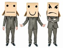 Set of business man with cardboard box on his head Royalty Free Stock Photography