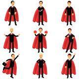 Set of business man character in classic black suits with red superhero capes. Successful office workers in different. Poses. Career and leadership concept stock illustration