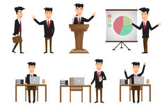 Set of business man in various poses. action and characters in h Royalty Free Stock Image