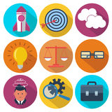 Set of 9 business, marketing colorful round icons Stock Image