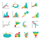 Set of business marketing dot bar pie charts diagrams and graphs Royalty Free Stock Photos