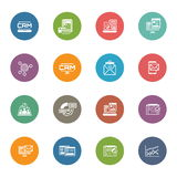Set of Business and Marketing Flat icons. Set of Business and Marketing Icons as CRM, Store Analytics, Landing Page, Business Goals. Confirmation Letter stock illustration